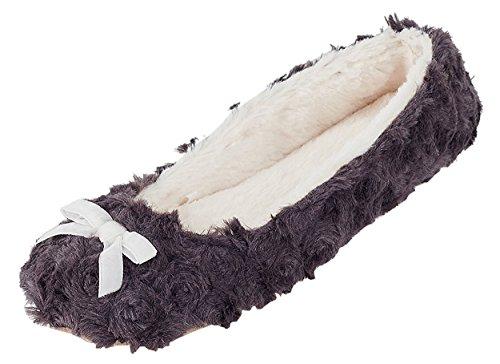 oscuro Soft Plush MIXIN pizarra Zapatillas Suela interior Bailarina Mujer gris 61zx1vT