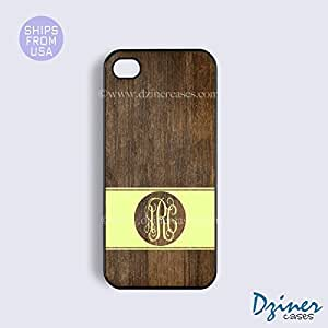 Personalized Your Initials iPhone 4 4s Case - Wood Print Yellow Stripes Circle iPhone Cover