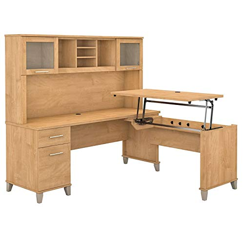 Bush Furniture Somerset 72W 3 Position Sit to Stand L Shaped Desk with Hutch in Maple Cross