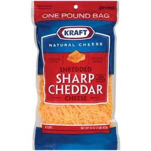 KRAFT CHEESE SHARP CHEDDAR SHREDDED 16 OZ BAG PACK OF 2