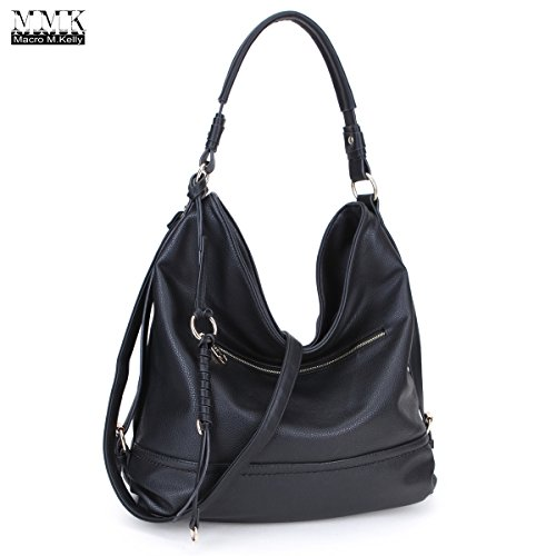 MMK Collection Women Soft Water Wash PU Leather Vintage(6332) Top Dual Handle Crossbody Fashion Cowboy Young Style Chained Hobo Shoulder Bag Handbag (Chained Handle)