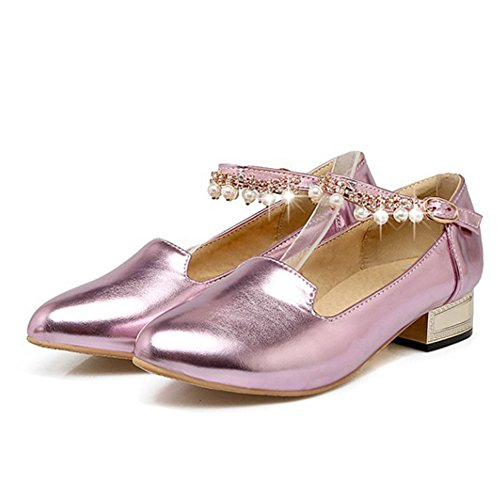 Aisun Womens low Cut Beaded Round Toe Buckled Dress Chunky Low Heels Ankle Strap Pumps Shoes Pink oti6wm