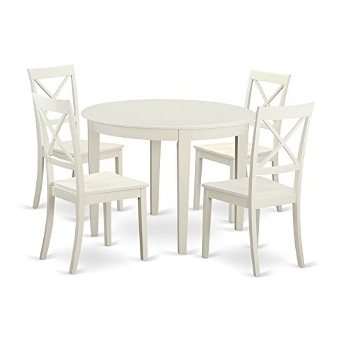 BOST5-WHI-W 5 PcKitchen nook Dining set for 4-Table and 4 Kitchen Chairs