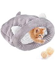 Polar miękki kot śpiwór ogrzewający nadające się do prania łóżka dla zwierząt domowych przytulanka worek koc mata koty psy gniazdo jaskinia dom przytulne zadaszone łóżko dla kota szczeniaka (szary, L)