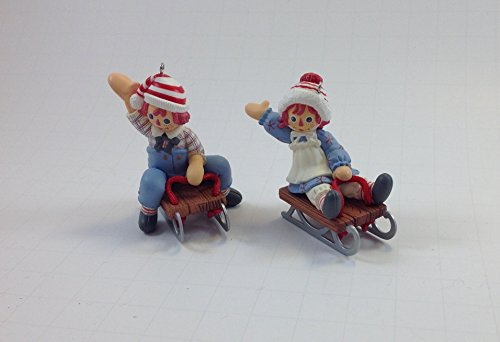 Hallmark Classic Raggedy Ann & Andy Holiday Sledding Keepsake Ornament