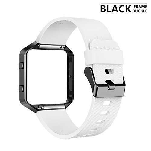 AIUNIT Fitbit Blaze Band with Frame, Fitbit Blaze Replacement Large Bands Accessories Wristband Watch Sport Strap for Fitbit Blaze Smart Fitness Tracker Women Men Boys(White Band & Black Frame)