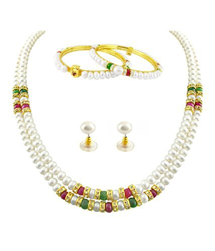 Trendy Souk Big Girls' Fayre Dual Line, Ruby And Emerald Studded Real Freshwater Hyderabadi Pearls, Aaa Quality, Pearls Necklace With Matching Bangles And Earrings Diwali Gift Set by Trendy Souk