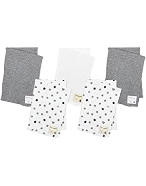 5 Pack of Burp Cloths, 100% Organic Cotton (2 Star Print, 2 Grey Heather, 1 Cloud), Fog