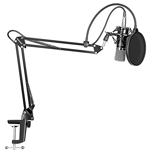 Neewer NW-700 Professional Studio Broadcasting Recording Condenser Microphone & NW-35 Adjustable Recording Microphone Suspension Scissor Arm Stand with Shock Mount and Mounting Clamp Kit Boom Microphone Desktop Cable