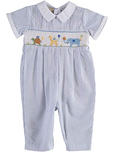 Baby Boy Long Romper Hand Smocked Zoo Animals on Blue Striped Seer Sucker