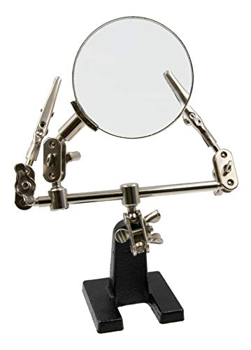 (Zega Crafts Helping Hand Magnifier - Adjustable 4X Magnifying Glass on Metal Base with 2 Adjustable Alligator Clips -Designed for Soldering, Crafting and Small Precision Projects)