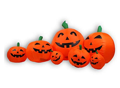 Fairy-Margot 8 Foot Long Led Lighted Lights Halloween Inflatable Seven 7 Pumpkins Yard Decorations,Old -