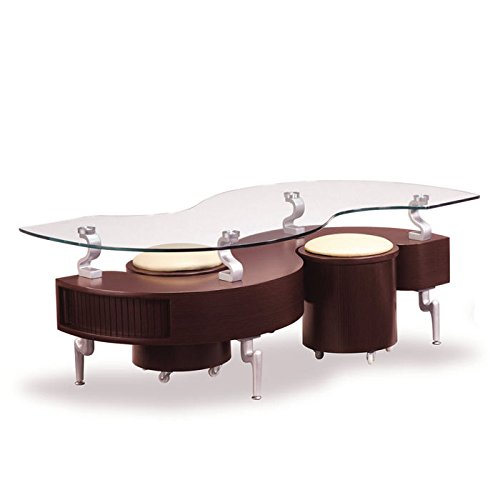 Contemporary Mahogany Coffee Table (Global Furniture USA T288 Mahogany Occasional Coffee Table with Silver Legs)
