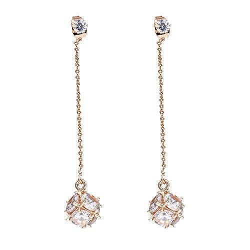 - EVBEA Threader Earrings Womens Long Elegant Clear Cubic Zirconia Diamond Ear Drops(yl)