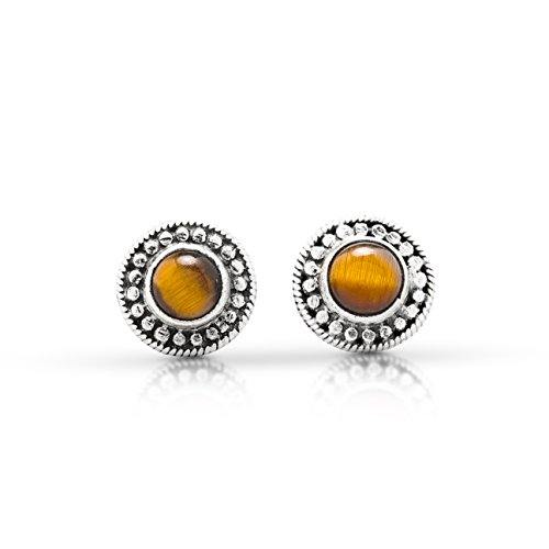 Round Tiger Eye Stud Earrings 925 Sterling Silver Gipsy Ethnic Boho Chic ()