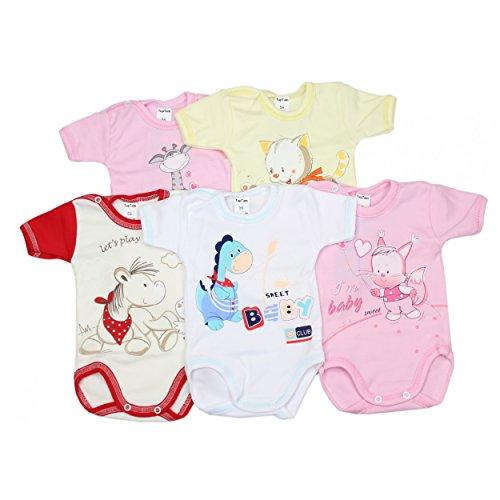 5er Set Baby Kurzarm-Body mit Aufdruck 100% Baumwolle Kurzarmbody Mädchen Babybody Jungen, Farbe: Mädchen, Größe: 74