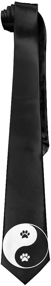 Leisure Skinny Yin And Yang Animal Footprints Necktie Ties Novelty Necktie Silk