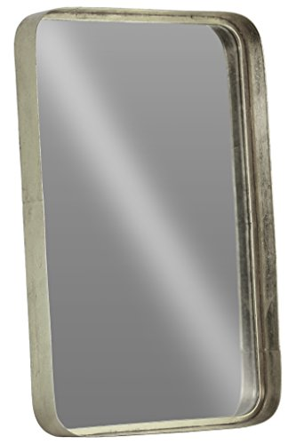 Urban Trends Rectangular Wall Rounded Corners Metallic Finish Silver Mirror, - Item Type: mirror Item material: metal Item finish: metallic finish - bathroom-mirrors, bathroom-accessories, bathroom - 41Eb7dOaF7L -
