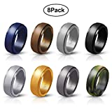 Ninge Silicone Rings, 8 Rings Wedding Bands for Men - 8 mm Wide Size 8 9 10 11 12 13 14-8 Pack