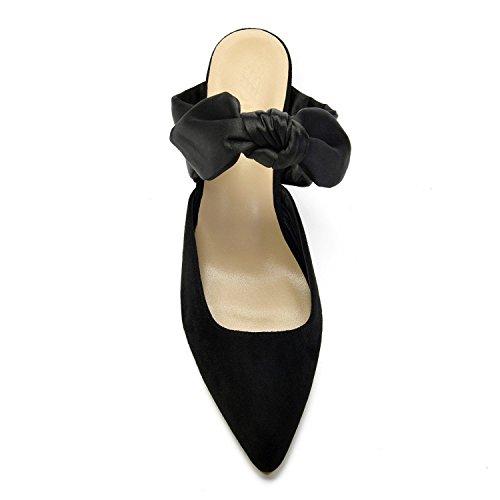 MarHermoso Heel Womens Ankle Elegant Mules Tie Kitten Black Vintage wHHUIr6q