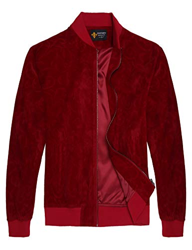 COOFANDY Men's Floral Suede Bomber Leather Jacket Casual Varsity Baseball Coat, Wine Red, X-Large