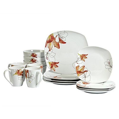 Lily Square White Porcelain 16 Piece Dinnerware Set (Porcelain Lily)