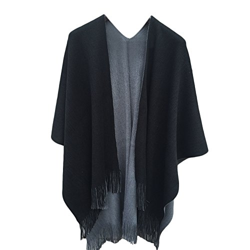 Reversible Ladies Cape (Women Cashmere Reversible Blanket Poncho Cape Shawl Long Cardigan Sweater Coat)