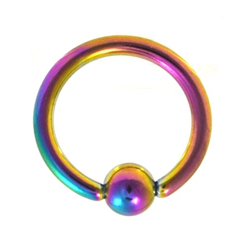 (2 pieces) Captive Bead Ring / hoop /cbr RAINBOW Anodized Titanium Over (316L) Surgical Steel (14g (1.6mm), 10mm diameter, 5mm ball) - 5 Titanium Captive Bead Ring