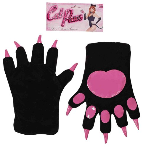(Forum Novelties Women's Cat Paws Gloves, Black, One)