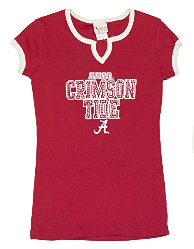 NCAA Licensed Alabama Crimson Tide Womens Jeweled Logo V-Neck Shirt (Medium)