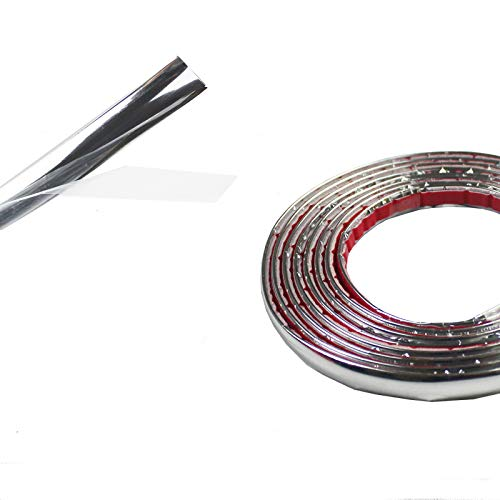 Chrome Trim Side Molding Covers Interior&Exterior Guard Decorative DustProof DIY Strip Tape 12ft 1/2 inch Width Sliver