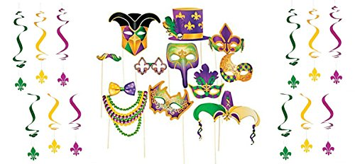 Mask Prop Set (Mardi Gras Photo Booth Set - Complete Selfie Station with Mask Props and Hanging Swirl Backdrop Party Decorations (24 pieces))