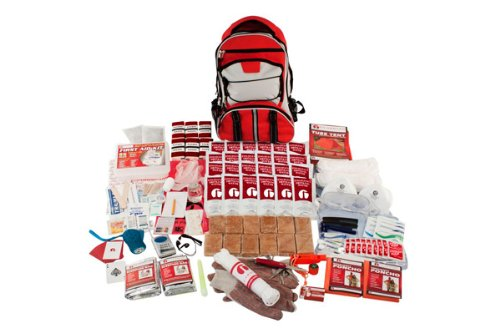 Premium Twin Blade - Guardian Survival Multi-Pocket Hiker's Elite Emergency Kit, 2 Person, Red Backpack