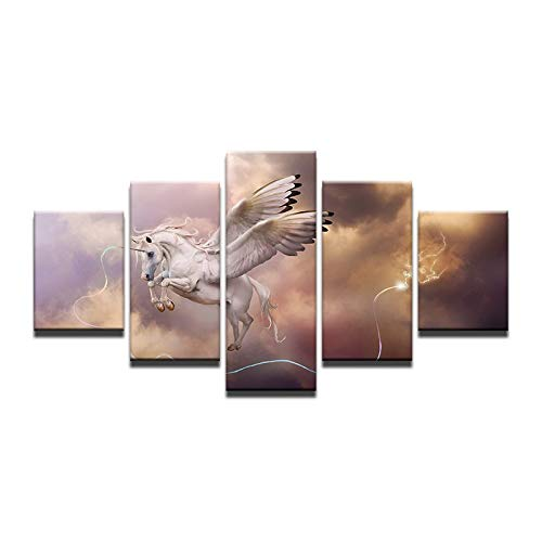 30x50 30x70 30x80cm Frame Fantasy Home Decor Modular Oil Poster 5 Pieces Myth Reverie Animal Unicorn Canvas Painting On The Wall Pictures for Living Room