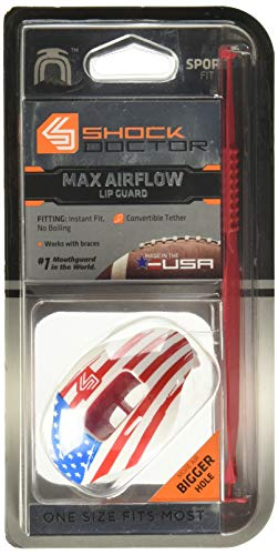 Shock Doctor Max Airflow 2.0 Lip Guard / Mouth Guard for Football 3500. For Youth and Adults OSFA. Breathable Wide Opening Mouthpiece. Helmet Strap Included.