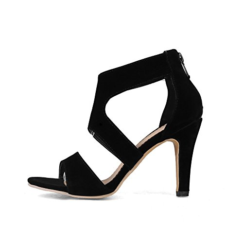 AdeeSu Womens Hollow Out Pointed-Toe Spikes Stilettos Microfiber Sandals SLC03333 Black P4y8s