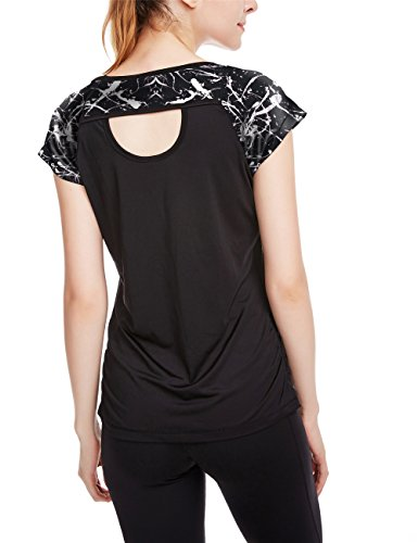 icyzone Workout Running Shirts for Women - Fitness Gym Yoga Exercise Short Sleeve T Shirts Open Back Tops (XL, Monochrome/Black) by icyzone
