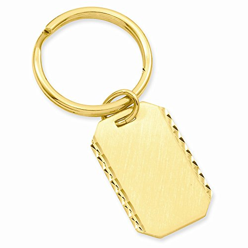 (Gold-Flashed Solid Satin Gift Boxed Engravable Sparkle-Cut Polished Back Swiss Cut Edge Key)