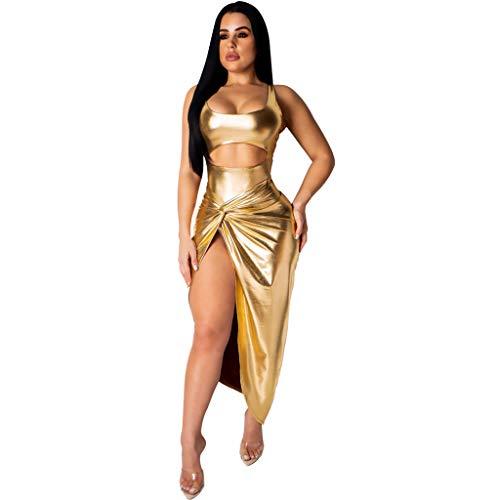 2Pcs Women's Sexy Gold Low-Cut Split Mini Slim Nightclub Dress   (Gold, M)
