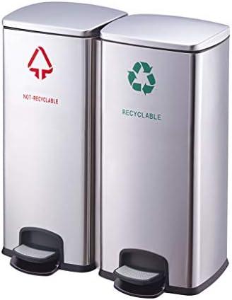 ゴミ袋 ゴミ箱用アクセサリ ダブルコンパートメントゴミ箱コレクター、ブラッシュドステンレススチール、60リットル/ 16ガロン キッチンゴミ箱