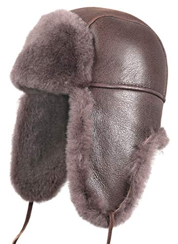 ling Sheepskin Aviator Russian Bomber Hat Small Cashmere ()