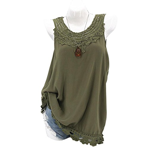 Womens Tank Top, vermers Ladies Cami Sleeveless Lace Splice Casual Hollow Vest (White Linen Tester)