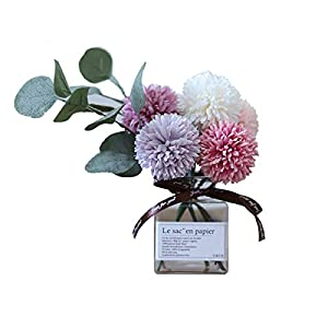 Billibobbi, Artificial Flowers with Vase, Fake Ball Chrysanthemum Flowers in Thin Glass Vase, Faux Flower Arrangements for Home Decor, Green, Small