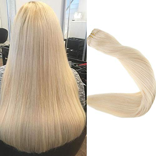 Full Shine 24 inch 100% Real Remy Human Hair Weft Extensions Double Wefted Straight Hair Weft Bundle Full Head Color #60 Plautinum Blonde 100g Each Bundle (Hair Extensions Full Head Blonde)