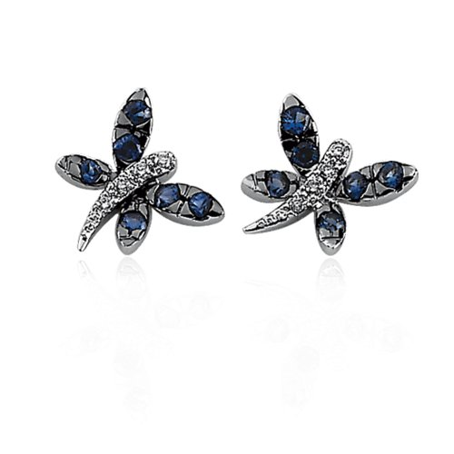 14k Gold Blue Sapphire and Diamond Dragonfly (Dragonfly Sapphire Earrings)