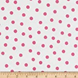 Oilcloth Polka Dot White/Pink Fabric By The Yard by OilCloth International