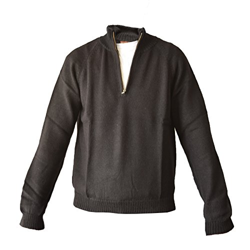 Alpaca Basics Men's Handmade 100% Alpaca Wool Half Zip Sweater (Black, Medium) - Half Zip Wool Sweater