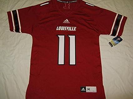 sports shoes c622d 9387f Amazon.com : Louisville Cardinals Red #11 Adidas Premier ...