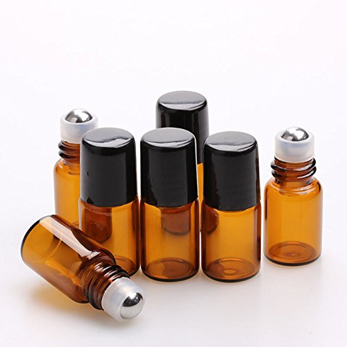 Furnido 25 pcs 1mL/2ml Empty Amber Mini Glass Roll on Perfume Bottle Refillable Stainless Steel Roller Ball Essential Oil Liquid Bottle With Black Caps Mini sample vials cosmetics small bottles (2ml)