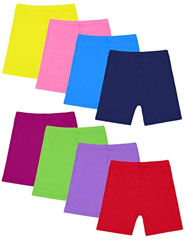 Resinta 8 Pack Black Dance Shorts Girls Bike Short Breathable and Safety 8 Color (Mixed Colors 2, 8/10T) Cotton Girls Short Skirt
